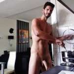 Sexy Guy Cooks And Flashes Soft Penis
