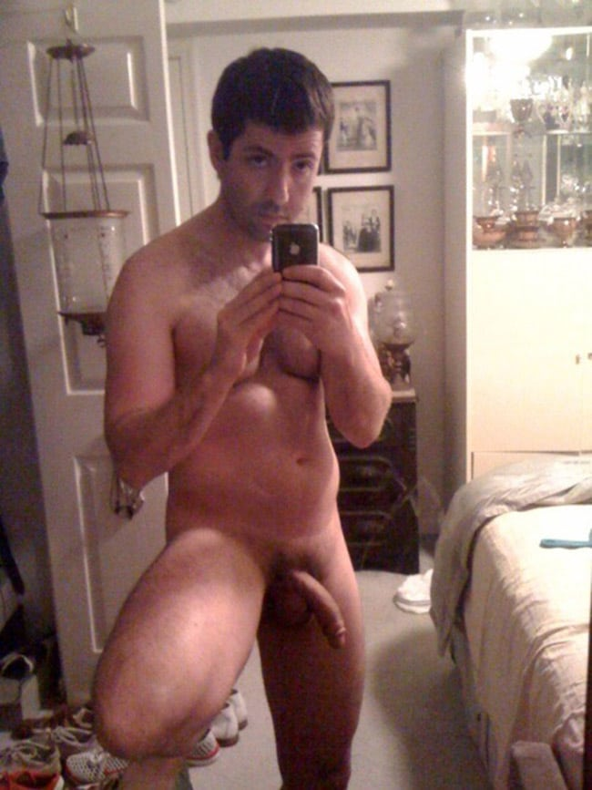 Hot Chubby Man Showing His Bent Dick - Nude Man Picture